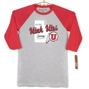 Utah Utes Baseball T-Shirt Medium Gray Red